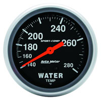 Sport Comp 2 5/8 inch Water Temp Gauge, 140-280 degree, 6 ft