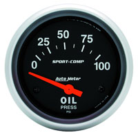 Sport Comp 2 5/8 inch Electric Oil Pressure Gauge, 100psi