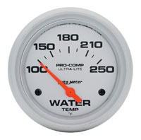 "Ultra Lite 2 5/8"" Water Temp Gauge, 100-250 F, Electric"