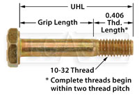 AN3 Airframe Bolt, 10-32 Thread