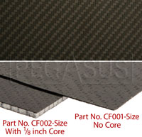 Carbon Fiber Sheet, Non-Cored, 1/32 inch nominal thickness