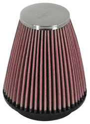 K&N Clamp On Filter, Round Taper, 2.25 FL, 3.5B x 4H, Chrome