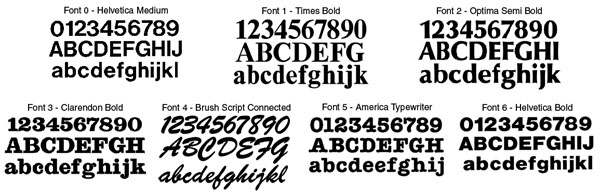 Samples Of Available Font Styles