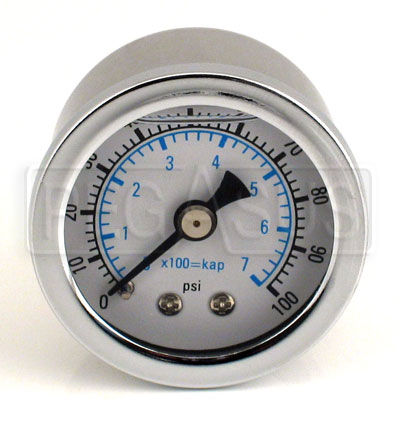 Large photo of 100psi Fuel Pressure Gauge 1/8 NPT Male, Pegasus Part No. 1063