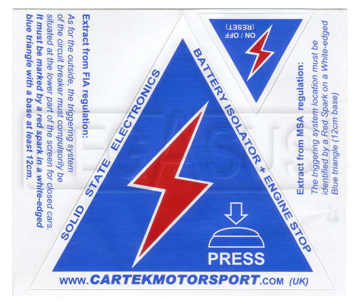 Auto Service Near Me >> Cartek Safety Sticker Sheet for Battery Isolators - Pegasus Auto Racing Supplies
