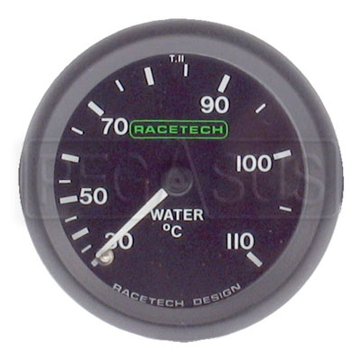 Large photo of Racetech 110 C Water Temperature Gauge, Pegasus Part No. 1092-Size