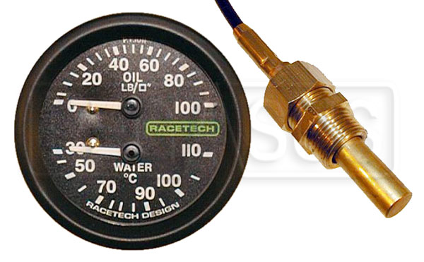 Large photo of Racetech Dual 100psi Oil Pressure/110 C Water Temperature, Pegasus Part No. 1094-Size