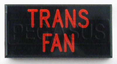 Large photo of Dash Badge Identification Plate (Trans Fan), Pegasus Part No. 1100-TRANSFAN