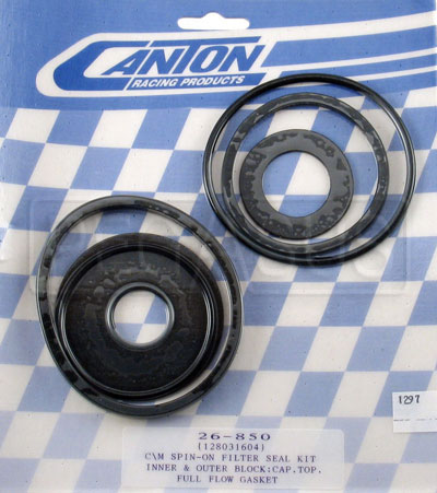 Large photo of Canton Spin-On Oil Filter Seal Kit, for Bolt-On Type Cap, Pegasus Part No. 1297