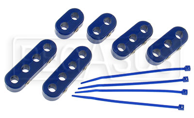 Clamp-Style Spark Plug Wire Separators, Blue | Pegasus Auto Racing on smoothie wire separators, spark plugs plugs, sullair vacuum pumps oil separators, heater hose separators, aluminum hose separators, ignition wire separators, billet hose separators,