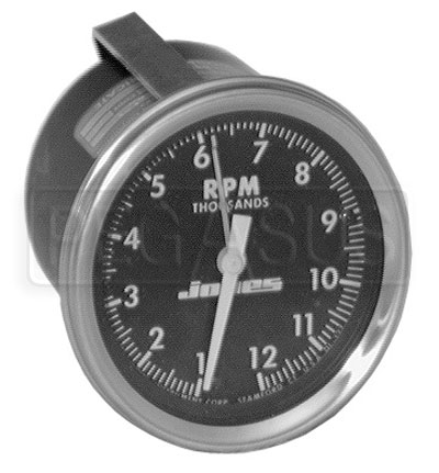 Large photo of Jones 3 inch Mechanical Tachometer with Telltale, Pegasus Part No. 1370-RPM-Ratio