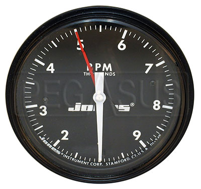 Large photo of Jones 4 inch Mechanical Tachometer with Telltale, Pegasus Part No. 1374-RPM-Ratio