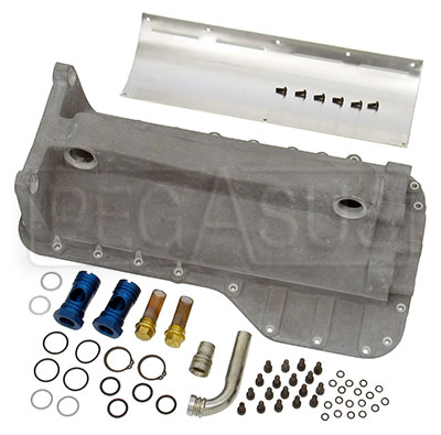 Large photo of 2.0L Cast Aluminum Dry Sump Pan W/Filter Plugs, Pegasus Part No. 177-20-CAST