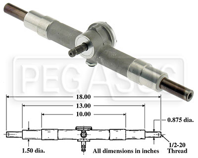 Large photo of Aluminum Steering Rack - Standard In-stock Version, Pegasus Part No. 1802