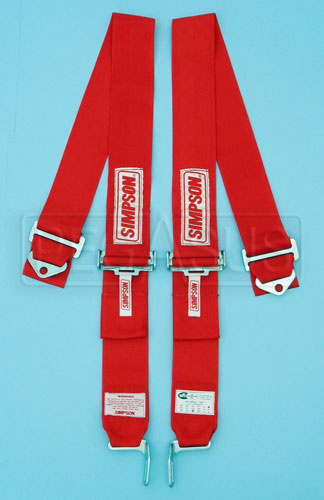 Large photo of Latch & Link 2-Strap Shoulder Harness, Red, Old Date, Pegasus Part No. CL239-30-RED-DATE