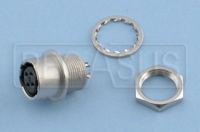 Large photo of SPA Female Hirose Connector with Nut & Lockwasher, Pegasus Part No. 2461