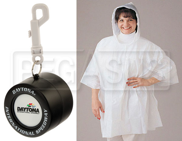 Large photo of Daytona Rain Poncho in Racing Tire Container, with Clip, Pegasus Part No. 2814-006