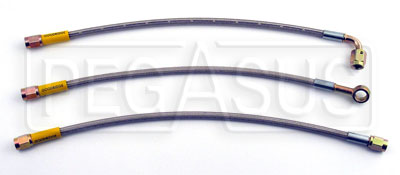 Large photo of Pre-Assembled Size 3 Braided PTFE Racing Hoses, Pegasus Part No. 3-Length-Ends