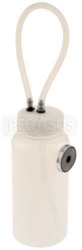 Large photo of Brake Bleeder Bottle with Magnet and Hose Drainback Fitting, Pegasus Part No. 3136-400