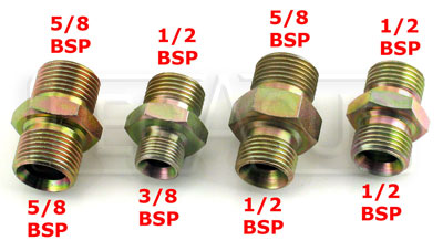 Large photo of Clearance 3/8 BSP Male to 1/2 BSP Male Adapter, Steel, Pegasus Part No. CL3231-6-8BSP