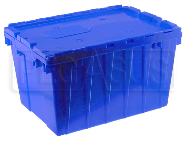 Heavy duty Plastic Storage Box with Interlocking Cover Blue