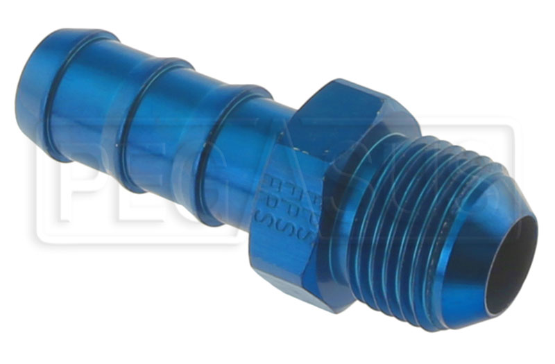 Large photo of AN841 Blue Aluminum Hose Barb to AN Male Adapter, Pegasus Part No. 3497-001-Size
