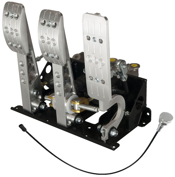 Large photo of OBP Pro-Race Floor Mount 3-Pedal Assy, w/ MC and Bias Cable, Pegasus Part No. 3537-034