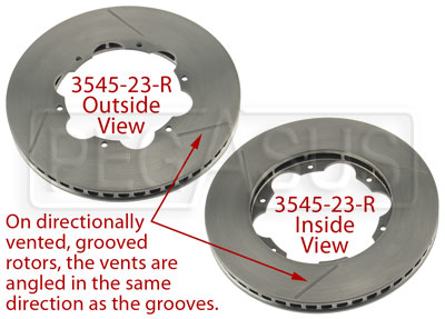 Large photo of Brake Rotor, DB2/DB5 w/LD65, Directionally Vented, Grooved, Pegasus Part No. 3545-23-Side