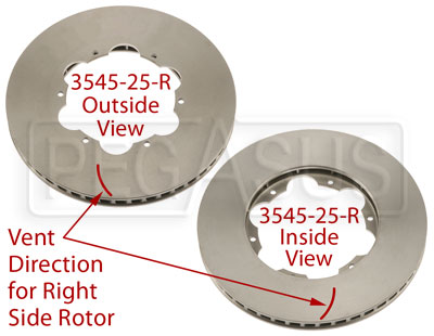 Large photo of Brake Rotor, DB4/RT4, Directionally Vented, Pegasus Part No. 3545-25-Side