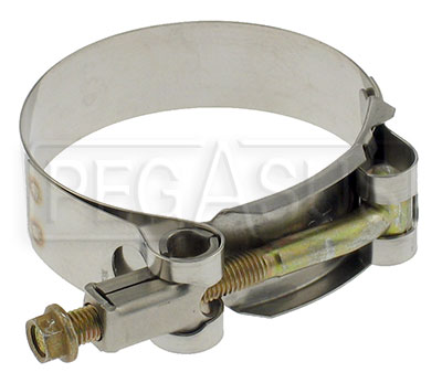 Large photo of Stainless T-Bolt Clamps for Racing Mufflers and other uses, Pegasus Part No. 3614-Size