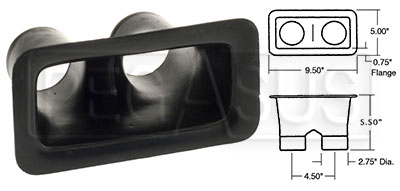 Large photo of Air Inlet, Small Bumper Mount  (2 Outlet), Pegasus Part No. 3625-Color