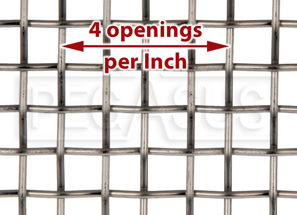 Large photo of Coarse Mesh Stainless, #4 x .047 Wire (4 openings per inch), Pegasus Part No. 3642-Size