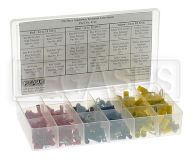 Large photo of 271 Piece Solderless Terminal Assortment, Pegasus Part No. 4165