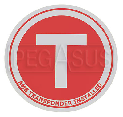 Large photo of Transponder Location Decal, 3.75 inch diameter, Pegasus Part No. 5001-002