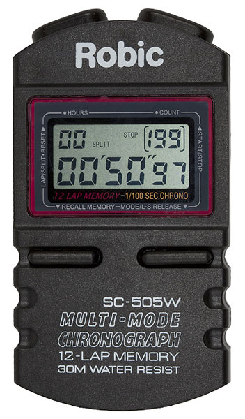 Large photo of Robic SC-505W Hand Held Timer, 12 Lap Memory, Pegasus Part No. 5035-Size