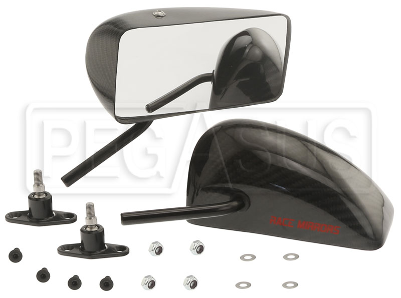 Large photo of CIS GT Series Convex Mirrors, Carbon Fiber, Angle Stems, Pr, Pegasus Part No. 5168-131