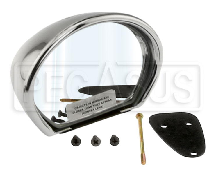 Large photo of Vitaloni Sebring Mach I Mirror, Chrome - Convex Lens, Pegasus Part No. 5170-002