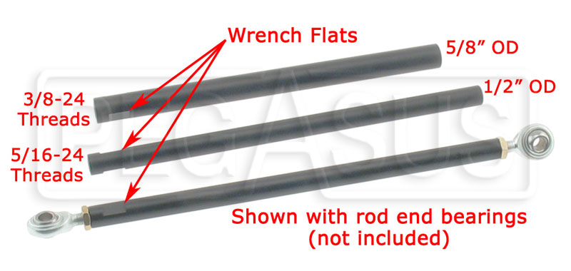 Large photo of Aluminum Kart Tie Rod - specify size & length, Pegasus Part No. 9958-Size-Length