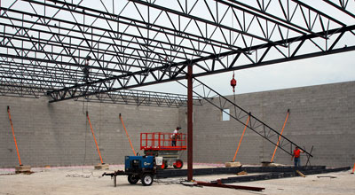 June 25, 2009 - The steel roof structure being erected.