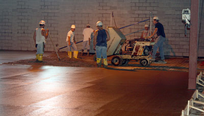 July 9, 2009 - The first half of the floor slab is being poured today.