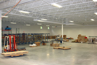 August 26, 2009 - We've started to assemble shelf units and pallet racking.