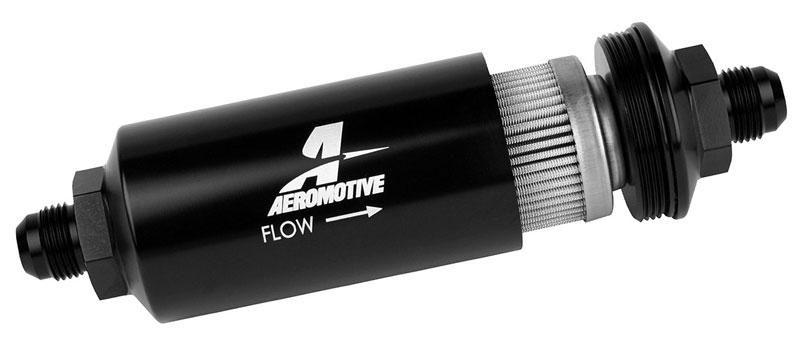In-Line Fuel Filter, 100 Micron Stainless, 8AN Male, Black | Pegasus