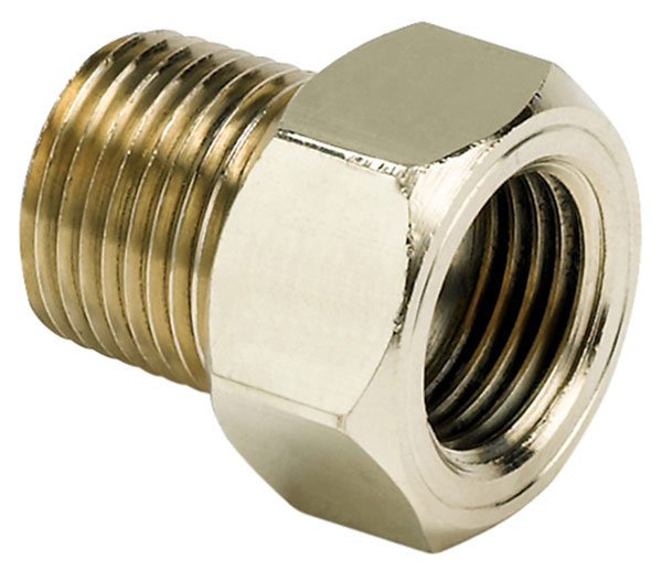 Large photo of 3/8 NPT Mechanical Temperature Gauge Adapter, Brass, Pegasus Part No. AM2263