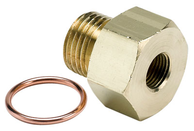 Large photo of 1/8 NPT Female to M16x1.5 Male Pressure Gauge Adapter, Brass, Pegasus Part No. AM2268