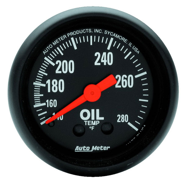 Large photo of Z Series 2 inch Oil Temp Gauge, 140-280 degree, 6 foot, Pegasus Part No. AM2609