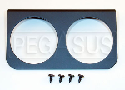 Large photo of 2-Mounting Hole Panel for 2 5/8 inch Gauges, Black, Pegasus Part No. AM3232