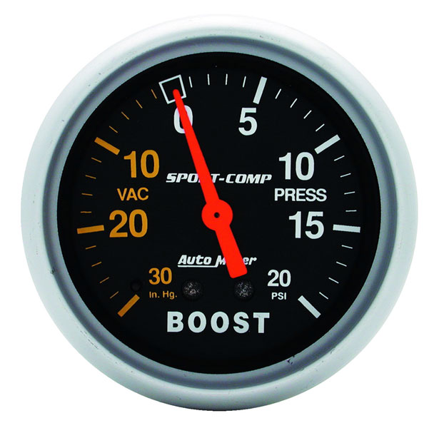 Large photo of Sport Comp 2 5/8 inch Boost Gauge, Pegasus Part No. AM3401