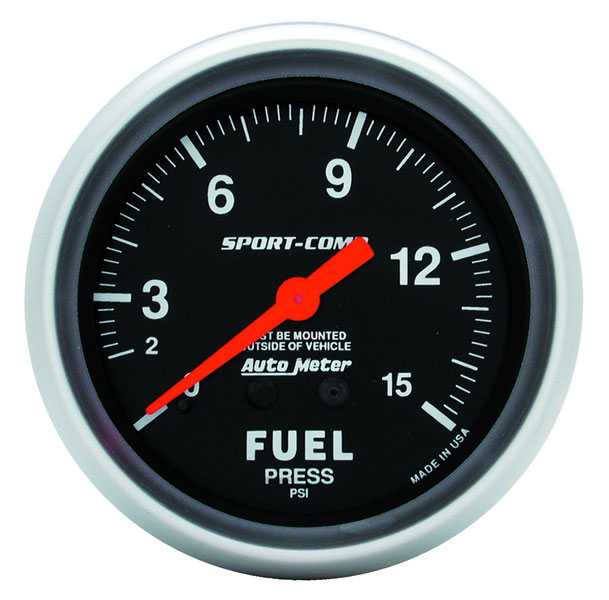Large photo of Sport Comp 2 5/8 inch Fuel Pressure Gauge, 15psi, Pegasus Part No. AM3411