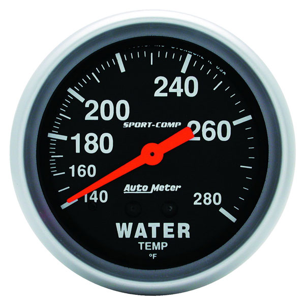 Large photo of Sport Comp 2 5/8 inch Water Temp Gauge, 140-280 degree, 6 ft, Pegasus Part No. AM3431