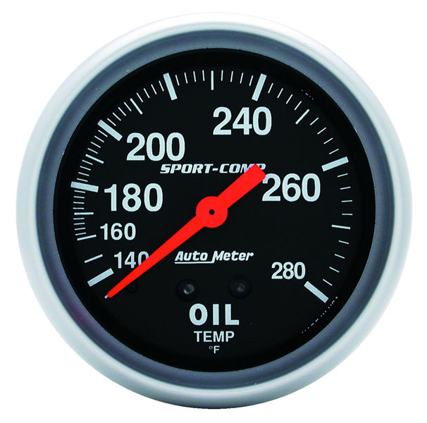 Large photo of Sport Comp 2 5/8 inch Oil Temp Gauge, 140-280 degree, 12 ft, Pegasus Part No. AM3443